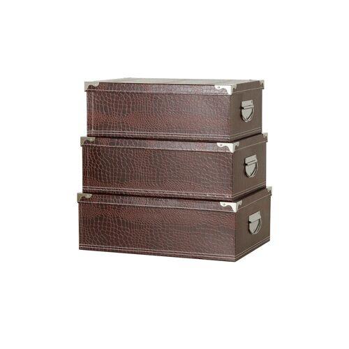 Höffner Aufbewahrungsbox, 3er-Set ¦ braun ¦ Pappe, PVC, Metall