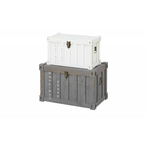 Höffner Aufbewahrungsbox, 2er-Set ¦ grau ¦ Metall, Holz
