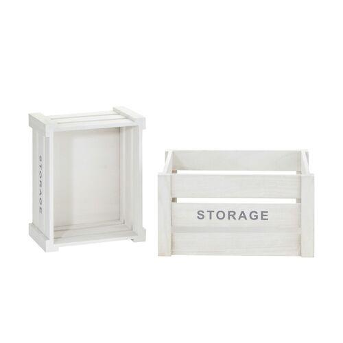 Höffner 2er Set Aufbewahrungskiste  Storage ¦ weiß ¦ Paulownia ¦ Maße (cm): B