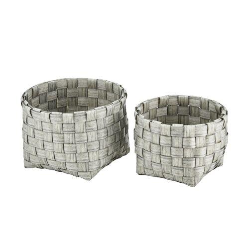 Höffner Aufbewahrungskörbe, 2er-Set ¦ grau ¦ Kunststoff, Metall ¦ Maße (cm):