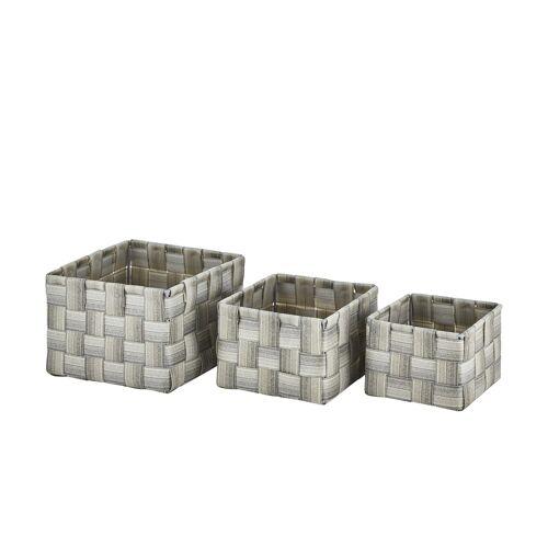 Höffner Aufbewahrungskörbe, 3er-Set ¦ grau ¦ Metall, Kunststoff ¦ Maße (cm):