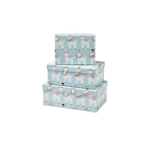 Höffner Aufbewahrungsboxen, 3er-Set   Alpaka ¦ blau ¦ Papier ¦ Maße (cm): B: