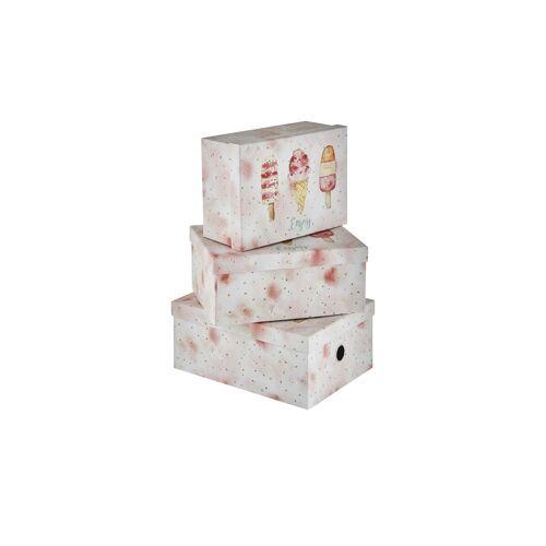 Höffner Aufbewahrungsboxen, 3er-Set ¦ rosa/pink ¦ Papier, Metall
