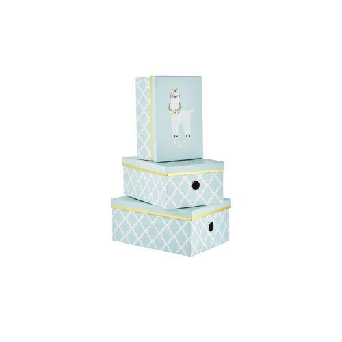 Höffner Aufbewahrungsboxen, 3er-Set ¦ blau ¦ Papier, Metall