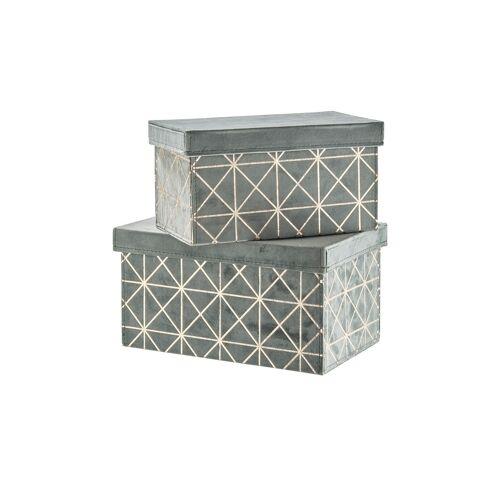 Höffner Aufbewahrungsboxen, 2er Set ¦ grün ¦ Samt, Pappe ¦ Maße (cm): B: 20 H