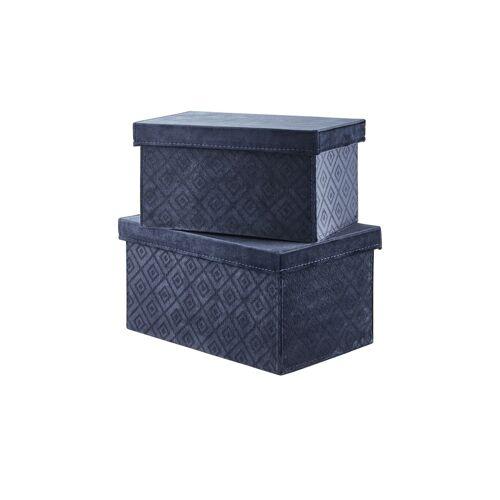 Höffner Aufbewahrungsbox, 2er-Set ¦ blau ¦ Pappe, Samt