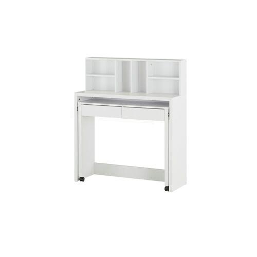 Höffner Schreibtisch mit Aufsatzregal  Diemel ¦ weiß