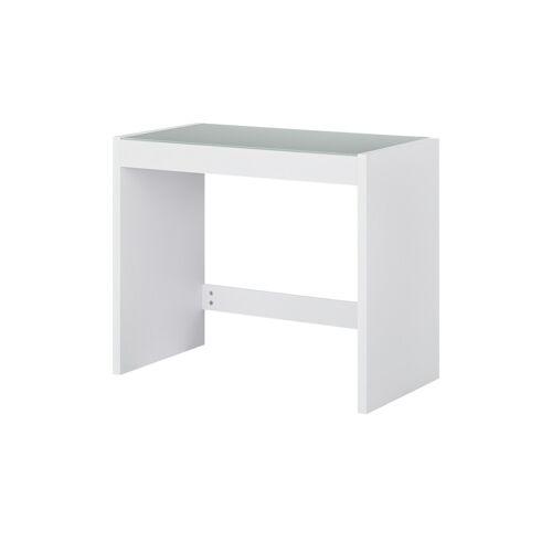 Höffner Schreibtisch mit Glasplatte  Demer ¦ weiß ¦ Maße (cm): B: 90 H: 75 T:
