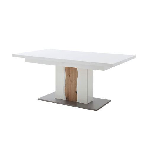 uno Säulentisch ausziehbar  Loxor ¦ weiß ¦ Maße (cm): B: 100 H: 77