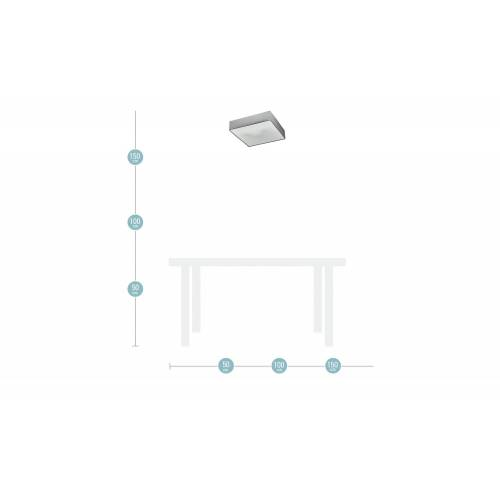 Trio Deckenleuchte mit eckigen Stoffschirm ¦ grau ¦ Maße (cm): B: 50