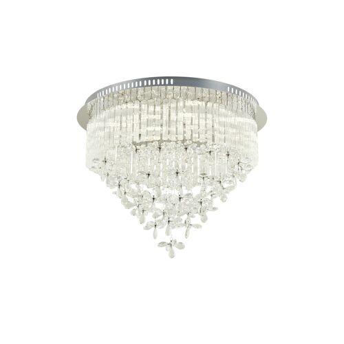 KHG LED-Kristalldeckenleuchte 10-flammig ¦ silber ¦ Maße (cm): H: 46