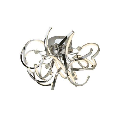 KHG LED-Deckenleuchte, Chrom mit Kristall ¦ silber ¦ Maße (cm): H: 34