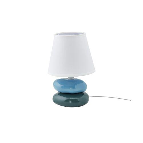KHG Keramik-Tischleuchte, Blau-Grün ¦ Maße (cm): H: 23 Ø: 21