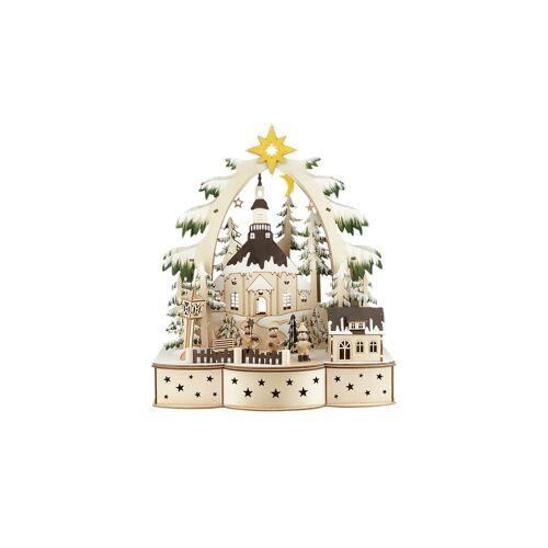 Höffner LED Weihnachtsdekoration  Weihnachtsdorf ¦ holzfarben ¦ Maße (cm): B: