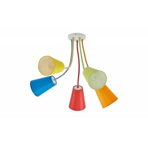 Höffner Deckenleuchte, 5-flammig, Schirme bunt ¦ mehrfarbig Ø: 106