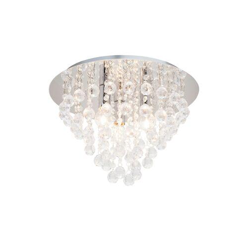 Höffner Deckenlampe mit hängenden Acrylbehang ¦ silber ¦ Maße (cm): H: 27 Ø: