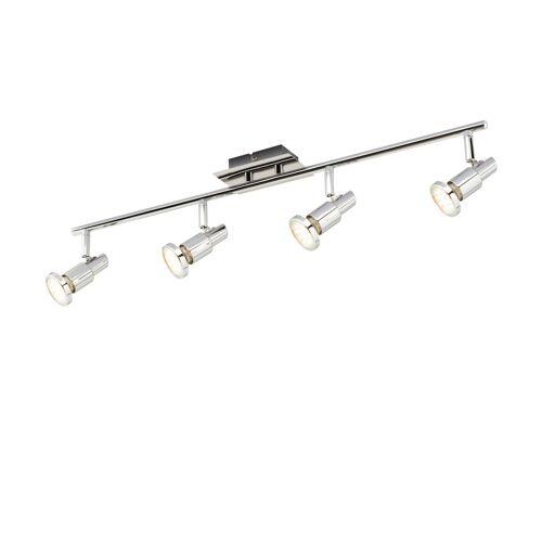 KHG LED-Deckenstrahler mit 4 schwenkbaren Spots ¦ silber ¦ Maße (cm):