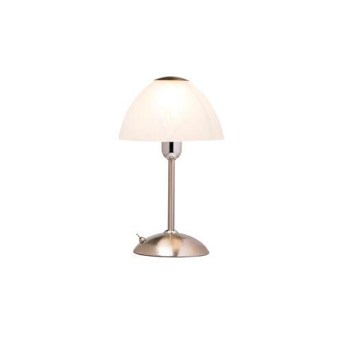 Höffner Tischlampe nickel matt mit Glasschirm ¦ silber ¦ Maße (cm): H: 32