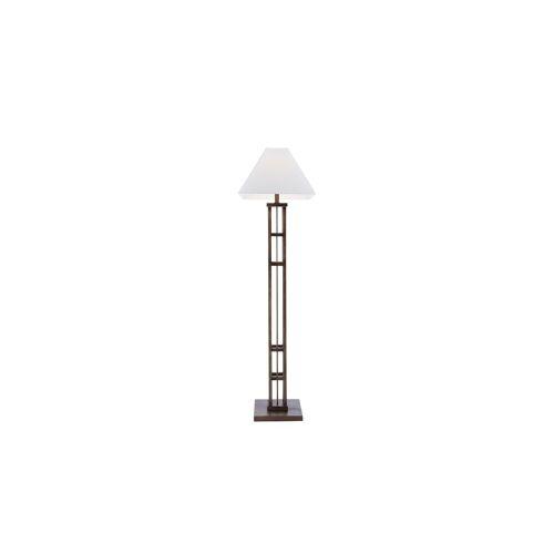 HOME STORY Stehlampe mit Holzfuß und weißem Stoffschirm ¦ braun ¦ Maß