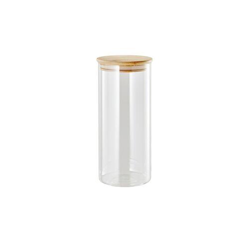 KHG Aufbewahrungsglas 22,5cm ¦ transparent/klar ¦ Bambus, Glas Ø: 10.