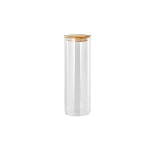 KHG Aufbewahrungsglas 30cm ¦ transparent/klar ¦ Bambus, Glas Ø: 10.3