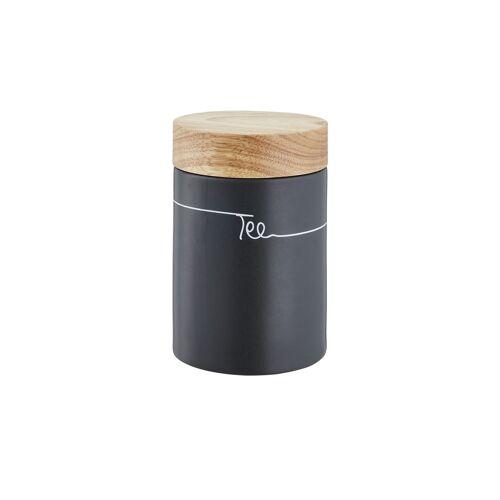 KHG Aufbewahrungsdose  Tee ¦ grau ¦ Steinzeug/Steingut, Holz ¦ Maße (