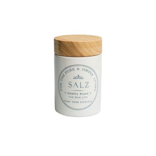 KHG Aufbewahrungsdose Salz ¦ weiß ¦ Steinzeug, Holz ¦ Maße (cm): H: 1