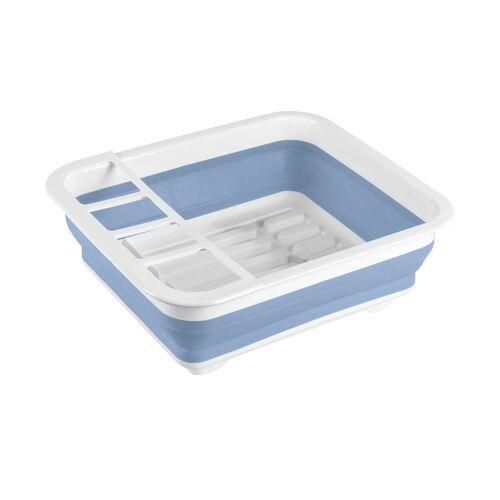 Höffner Geschirrabtropfständer faltbar Blau/Weiß ¦ blau ¦ Kunststoff