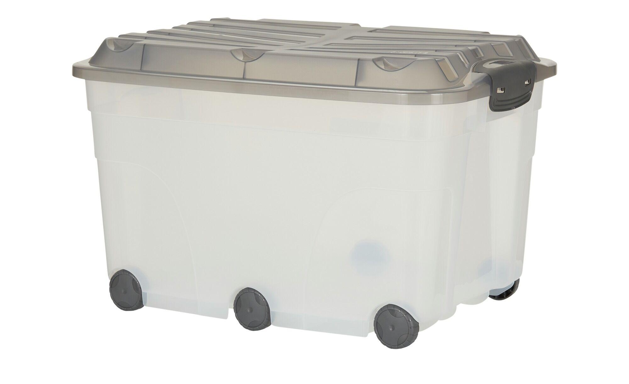 Höffner Rollbox mit Deckel  Aufbewahrungsbox ¦ grau ¦ Kunststoff