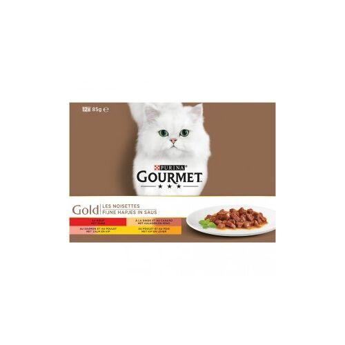 Gourmet Gold 12-Pack Feine Snacks in Sauce Katzenfutter 96 x 85 gram