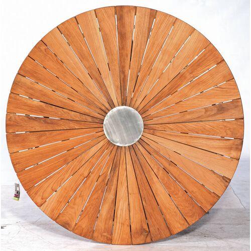 SonnenPartner Tischplatte SUN 130 cm rund Edelstahl Old Teak