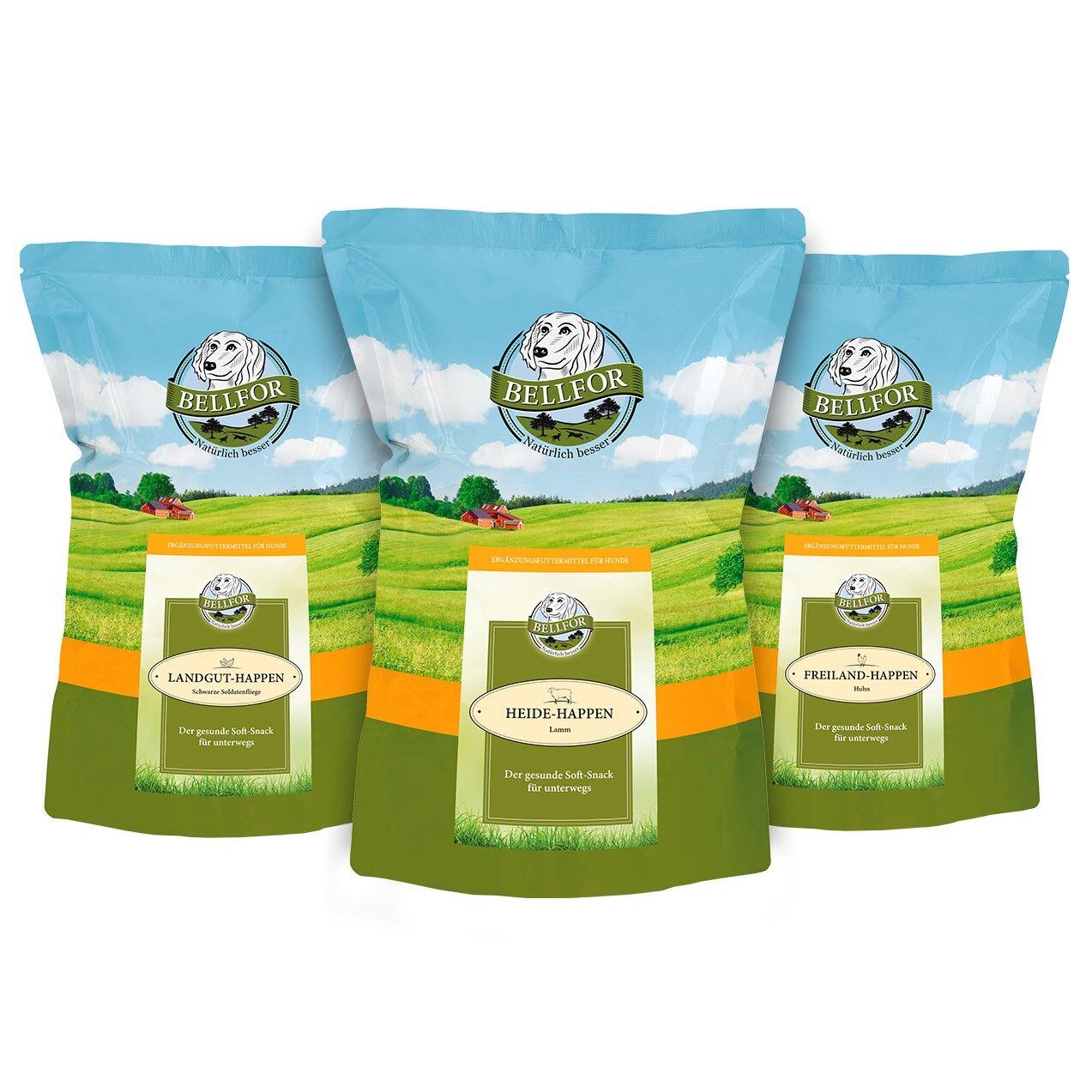 Bellfor Hundefutter Mix 3 Soft-snacks - Freiland-Happen 200g + Heide-Happen 200g + Landgut-Happen 200g