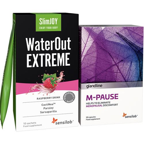 Sensilab M-Pause + WaterOut EXTREME - gegen die Symptome der Wechseljahre und Wassereinlagerungen, 30 Kapseln + 10 Getränke   Sensilab
