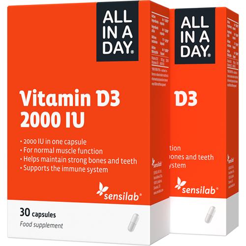 Sensilab All In A Day Vitamin D3 2000 IU - Völlig sichere Tagesdosis   2-Monatsvorrat   60 Kapseln   Sensilab
