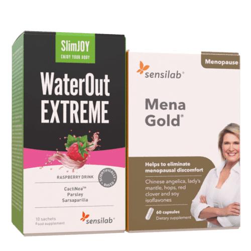 Sensilab Menagold® + WaterOut EXTREME - gegen Symptome der Wechseljahre und Wassereinlagerungen, 60 Kapseln + 10 Getränke