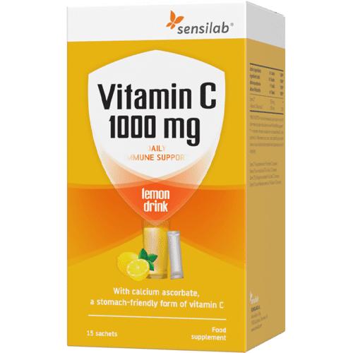 Sensilab Vitamin C 1000 mg Getränke - Hochdosiert und mit starker Aufnahmefähigkeit   Schonend zum Magen   15 Beutel   Sensilab