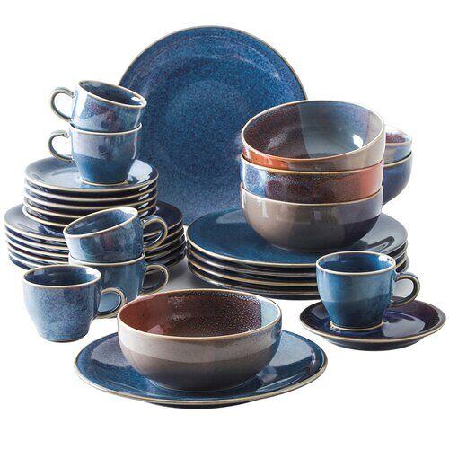 Kahla 30-tlg. Tafelservice Homestyle für 6 Personen Kahla Farbe: Atlantikblau