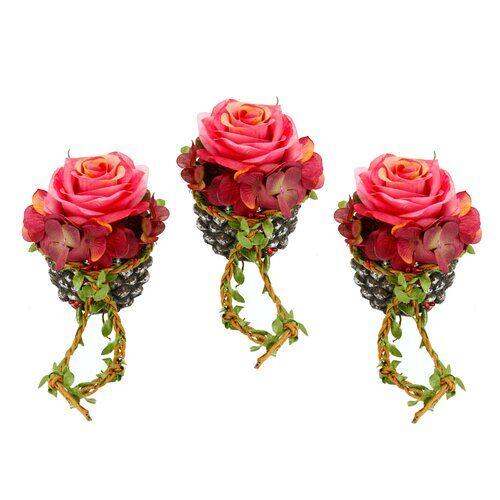 Die Saisontruhe Kunstblume Rose in Korb Die Saisontruhe Blumen Farbe: Dunkelrosa