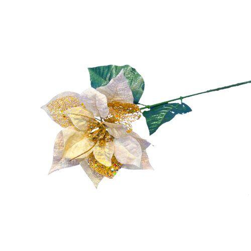 Die Saisontruhe Kunstblume Weihnachtsstern am Stiel Glitter Die Saisontruhe