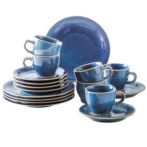 Kahla 18-tlg. Tafelservice Homestyle für 6 Personen Kahla Farbe: Atlantikblau