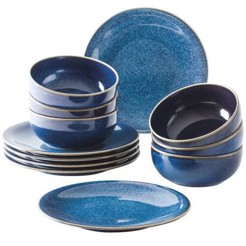Kahla 12-tlg. Tafelservice Homestyle für 6 Personen Kahla Farbe: Atlantikblau
