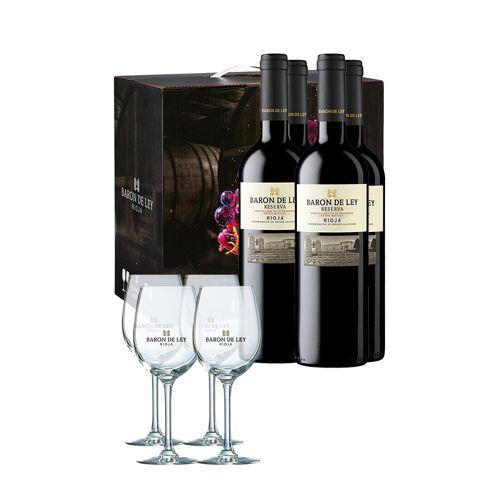 Barón de Ley Set Barón de Ley Reserva 2015 (x4) + 4 Weingläser gratis dazu
