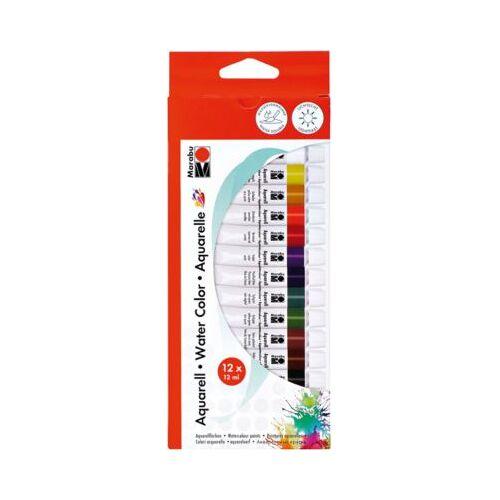 Marabu Aquarellfarben-Set, 12 x 12 ml