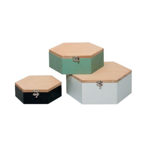 3-tlg. Holz Aufbewahrungskästchen Set