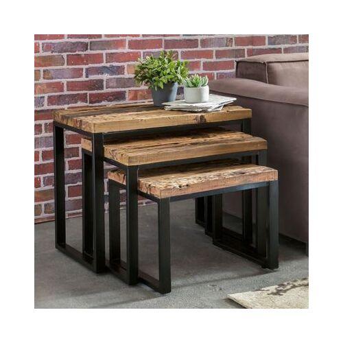 3-tlg. Upcycling Schwellenholz & Metall Beistelltisch Set braun