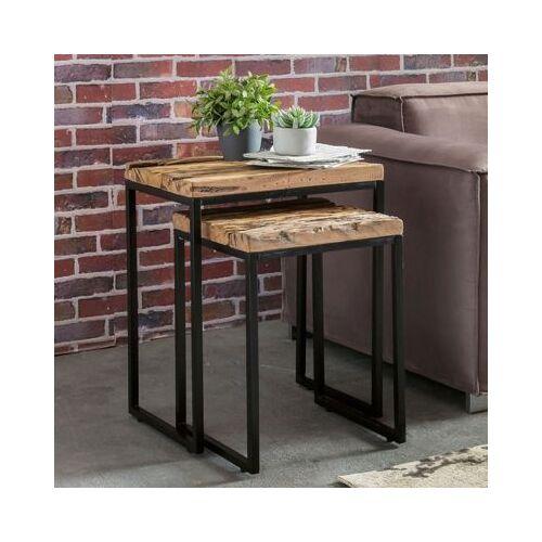 2-tlg. Upcycling Schwellenholz & Metall Beistelltisch Set braun