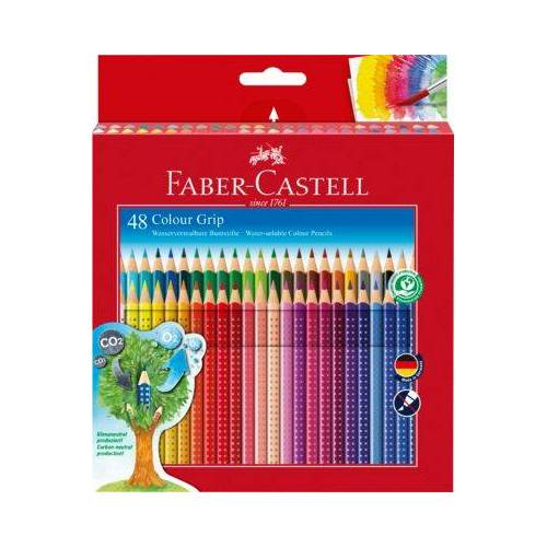 Faber-Castell COLOUR GRIP Buntstifte wasservermalbar, 48 Farben