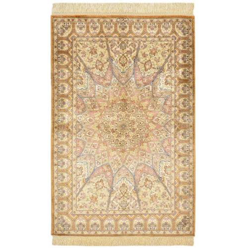 Nain Trading Perserteppich Ghom Seide 91x61 Beige/Rosa (Handgeknüpft, Persien/Iran, Seide)