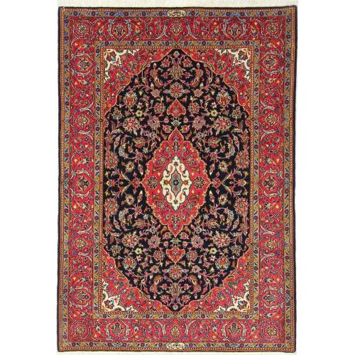 Nain Trading Handgeknüpfter Teppich Keshan Shadsar 171x118 Dunkelgrau/Braun (Wolle mit Seide, Persien/Iran)