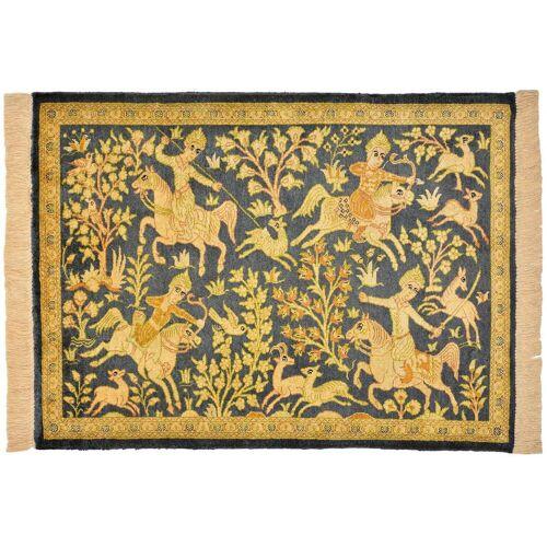 Nain Trading Perserteppich Ghom Seide 77x57 Beige/Rosa (Handgeknüpft, Persien/Iran, Seide)